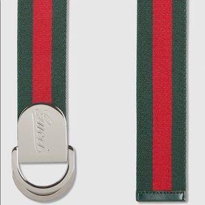 Gucci Signature Web Belt W/ Engraved Logo